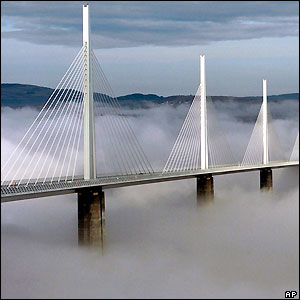 A photograph of the Millau Bridge in the Tarn Valley of France